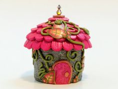 Tooth Fairy Home: Pink and Peach Fairy Jar House by MiniWhimsies