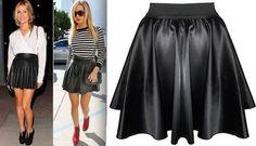 Women Black Faux Leather PVC Wet Look High Waist Flared Skater Mini Skirt 8-14 #Unbranded #SkaterMiniSkirt #Casual