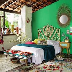 How beautiful this boho style design for the bedroom decor seems in the picture given below? The lovely prettification of this bedroom is especially shown here for the adornments of your guest room. Look at the grace of this beautiful bohemain style bedroom, it will definitely like by the visitors of your house.