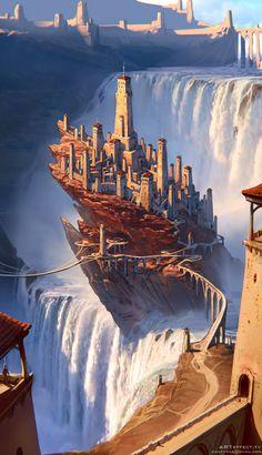 Waterfall rock castle , Sviatoslav Gerasimchuk on ArtStation at https://www.artstation.com/artwork/R5q4A
