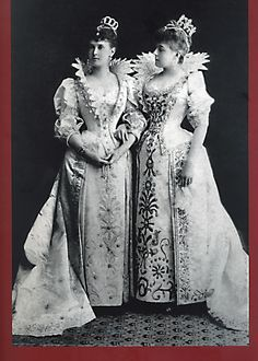 Grand Duchess Vladimir (left) & Zenaida Denaida, Comtesse de Beauharnais, wife of the 5th Duke of Leuchtenberg dressed for a costume ball in the late 1880's.