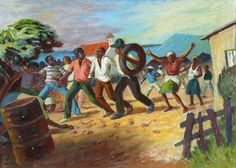 Exhibition Work / In the Shadow of the Rainbow / George Pemba: Port Elizabeth street scene - political unrest - SOLD South Africa Art, Out Of Africa, Port Elizabeth, Elizabeth Street, Gothic Elements, Social Realism, South African Artists, Art And Architecture, Artwork