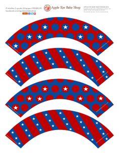 Free Printable Cupcake Wrappers by Apple Eye Baby Shop #AppleEyePRINTS #printables #diy #4thjuly #babycupcake