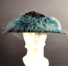 c.1910 Black Velvet & Feather Hat