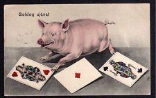 88129 AK Boldog ujevet Glückliches neues Jahr 1907 Glücksschwein Karten Spielkar
