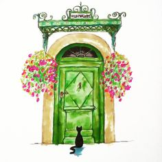 Is anybody in? by Amy Lou Illustrations #TheCatTraveller #art #artoftheday #sketchoftheday #markers #sharpies #instaart #instaartist #sketch #doodle #sketchbook #drawing #illustration #instadraw #cat #blackcat #green #greendoor #parisian #parisianlife #parisianarchitecture #architecture #oldbuilding #pretty #cute #frenchstyle #french