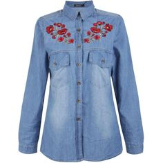 Boohoo Alyson Floral Embroidered Denim Shirt | Boohoo ($40) ❤ liked on Polyvore featuring tops, shirt top, denim top, lined denim shirt, blue top and blue denim shirt