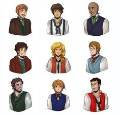 Top row to last row- Joly, Feuilly, Bossuet, Courfeyrac, Enjolras, Combeferre, Grantaire, Jehan, and Bahorel