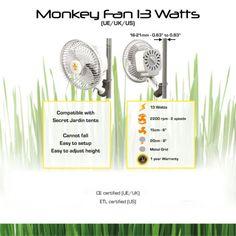 Le Monkey Fan 13W est un ventilateur qui s'insérera directement sur les barres des chambres de culture. Il dispose d'un crochet bloquant et d'un caoutchouc anti-déparant afin qu&r…