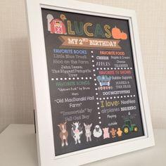 8x10 Farm Chalkboard Birthday Poster - Barnyard Birthday Party- Old MacDonald Had a Farm Birthday Sign - Centerpiece - Printables by SudsysSubwaySquiggle