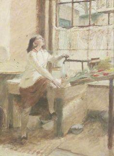 Evelyn Dunbar: Girl and a Birdcage (c.1934)