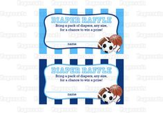 INSTANT DOWNLOAD - Printable DIY Blue Sports Theme Baby Shower Diaper Raffle Tickets & Sign on Etsy, $4.00
