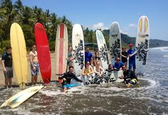 Group surf lessons in playa Dominical.   #dominicalsurflessons #dominicalbeach  sunsetsurfdominical.com
