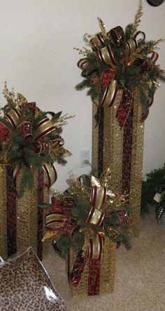 Ideas For Lighting Box Design Diy Photo Rose Gold Christmas Decorations, Christmas Floral Arrangements, Christmas Centerpieces, Christmas Tree Decorations, Rustic Christmas, Christmas Diy, Christmas Wreaths, Christmas Ornaments, Christmas Topper