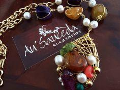 Collar alambrado chapa de oro 18k quarzo Ágatha perla cultivada hecho a mano bisutería accesorios joyería  Contacto 6444 089134