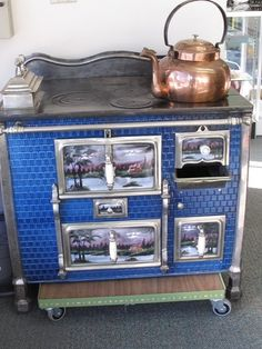 ANTIQUE SWISS CAST IRON/HAND PAINTED TILED STOVE c1890