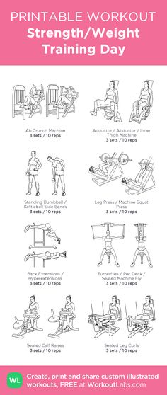 Strength/Weight Training Day – illustrated exercise plan created at WorkoutLabs.com • Click for a printable PDF and to build your own #customworkout