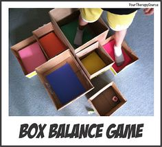 Box Balance Game - Motor Planning, Body Awareness and More - Pinned by @PediaStaff – Please Visit ht.ly/63sNtfor all our pediatric therapy pins