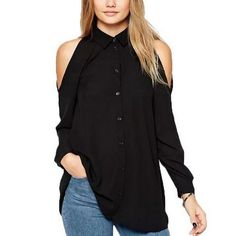Ready to ship: Chicloth Off the .... http://chicloth.com/products/chicloth-off-the-shoulder-high-collar-blouse?utm_campaign=social_autopilot&utm_source=pin&utm_medium=pin
