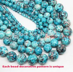 "Natura Stone Wholesale Blue Colorful Stone Round Beads 15.5"" Pick Size 4 6 8 10 12mm Free Shipping (F00001)"