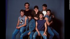 Tom Cruise and Emilio Estevez and C. Thomas Howell and Matt Dillon and Rob Lowe and Patrick Swayze and Ralph Macchio in The Outsiders Poster Iconic Movies, Great Movies, 80s Movies, Awesome Movies, Radios, Die Outsider, The Outsiders Cast, Emilio Estevez, Ella Enchanted