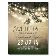 Rustic save the date postcards with vintage grungy night string lights design. To change the font colour or style please push customise it button.To see a full wedding set with this design please browse my store.