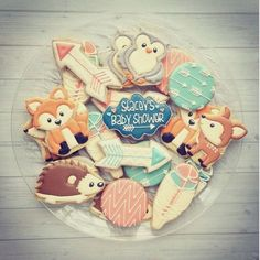 Woodland critter cookies /briannajenkins/ when my baby shower comes lol bc you make the best cookies!