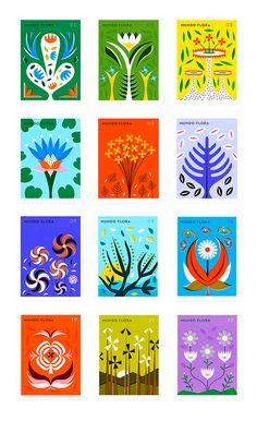 Mundo Flora stamps by Martin Azambuja on Behance