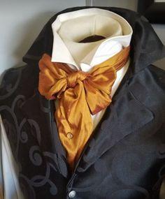 28c0838e4627 REGENCY Spanish Gold Dupioni Silk Victorian Ascot Necktie Tie Cravat