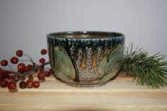 Green Blue Black and Golden Brown Salt Fired Clay by PranaPottery, $35.00
