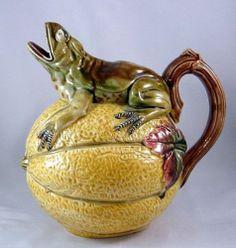 RARE Antique Majolica Figural Pitcher Frog on A Melon English Minton N R | eBay