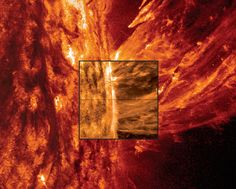 NASA's Solar Dynamics Observatory provided the outer image of a coronal mass ejection on May 9, 2014. The IRIS spacecraft. The IRIS mission views the interface region that lies between the sun's photosphere and corona in unprecedented detail for researchers to study. Image Credit: NASA, Lockheed Martin Solar & Astrophysics Laboratory
