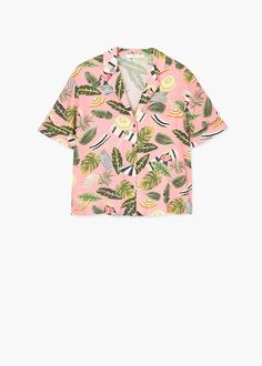 Flowy fabric Tropical print Sleeve with frill detail Shirt-style collar Button fastening on the front section Hawiian Shirts, Looks Chic, Dad To Be Shirts, Personalized T Shirts, Mode Style, Custom T, Printed Shirts, Shirt Style, Vintage Outfits