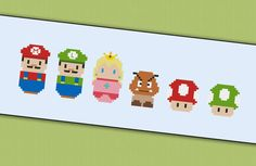 Super Mario - Videogames - Mini People - Cross Stitch Patterns ...