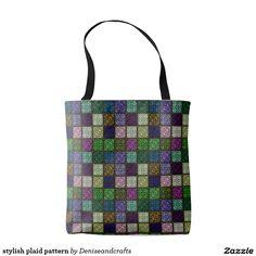 stylish plaid pattern tote bag