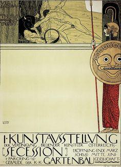 Постер для первой выставки Сецессиона. Густав Климт Музей истории Вены, Карлсплатц, Вена (Wien Museum Karlsplatz, Museen der Stadt Wien, Wien). 1897
