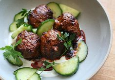 Chile-Cumin Lamb Meatballs with Yogurt and Cucumber