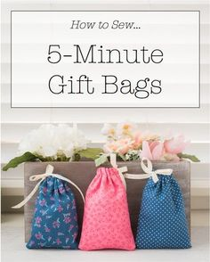 Small lined drawstring fabric gift bag pattern diy tutorial in 5 minute fabric gift bag tutorial free pattern diy gift bags solutioingenieria Choice Image