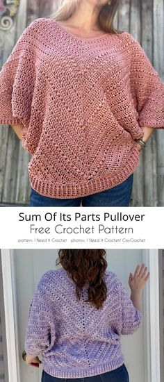 Sum of its Parts Pullover Gilet Crochet, Crochet Cardigan Pattern, Crochet Shirt, Crochet Sweaters, Crochet Tops, Crochet Womens Tops, Free Crochet Sweater Patterns, Crochet Barbie Patterns, Crochet Edgings