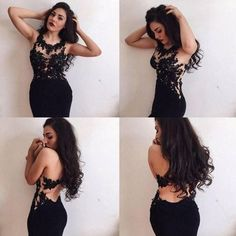 Sexy Black Lace Top Gorgeous Prom Dresses, Long Open Back Evening Dress, FS1937