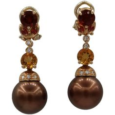 Mangiarotti Chocolate Brown Pearl Diamond Spessartite Citrine Rose Gold Earrings   From a unique collection of vintage dangle earrings at https://www.1stdibs.com/jewelry/earrings/dangle-earrings/