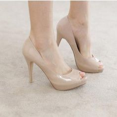 2014 New Fashion Stilettos Vogue Sexy Nude Black Patent Leather Womens Shoes High Heels Peep toe Pumps  Wholesale Low Price-in Pumps from Sh...