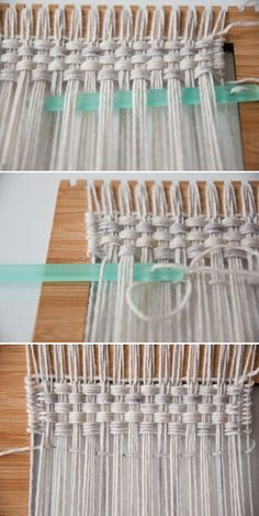Weaving a monk's cloth with the basket weave