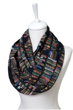 Bookshelf Infinity Scarf, Colored Book Scarf, Library Scarf Circle Scarf Spring Summer Fall Winter Session gift ideas for her girlfriend