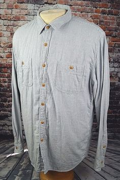 J.Crew Men's Button Down Work Shirt Cotton Long Sleeve White Blue Striped Sz. XL #JCrew #ButtonFront