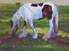 "Equine Artists International - Contemporary Fine Art International: Horse Oil Painting, Equine Art Landscape Painting, ""In Shadow"" by Colorado Artist Susan Fowler"