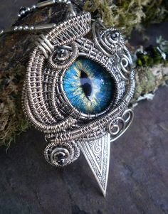SOLD Gothic Steampunk Evil Cat Eye Pendant by twistedsisterarts, $59.95