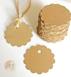 """100 Round 2"""" Scallop Kraft Gift Tags, Blank Tags, Circle Scrapbook Die Cuts, Round Punch Outs, Party Favors, Rustic Wedding Tags With Twine by SRVintageandDesigns on Etsy"""
