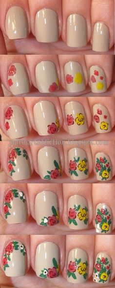 DIY - Vintage floral nail art tutorial.