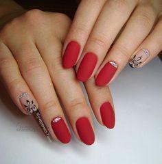 simple elegant classic precious matte red nails for